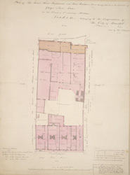 Plan of the Boar's Head Brewhouse, with three houses in front thereof, situate on the east side of Grays Inn Lane in the parish of St. Andrew, Holborn